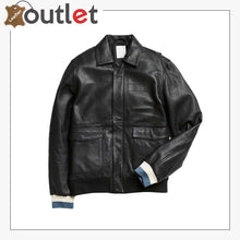 Load image into Gallery viewer, Black Shirt Style Leather Bomber Jacket