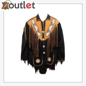 Black Western Mens Cowboy Long Fringed Suede Leather Jacket - Leather Outlet
