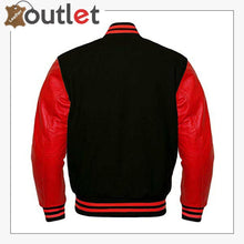 Load image into Gallery viewer, Black Wool & Red Leather Sleeves jacket