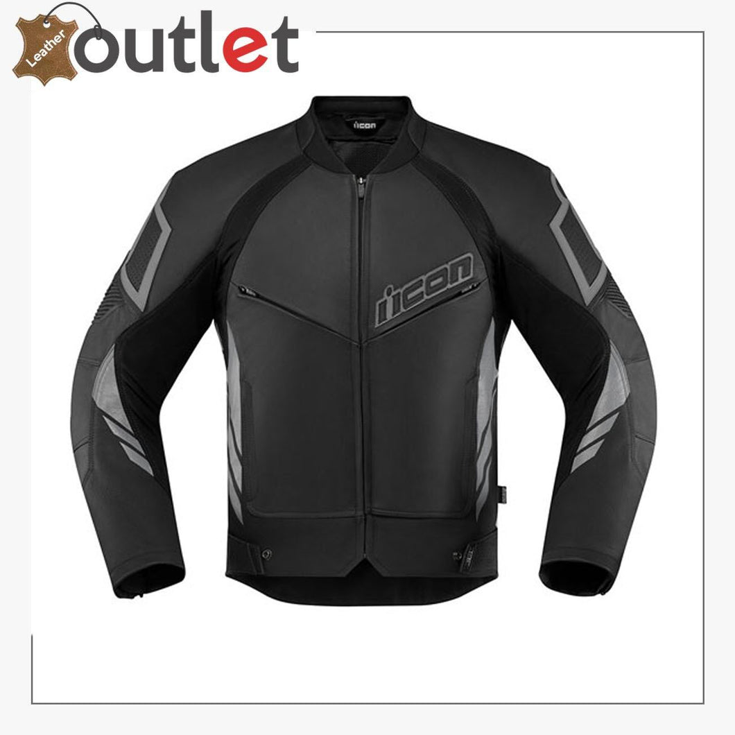 Black Real Quality Icon Motorcycle Leather Jacket