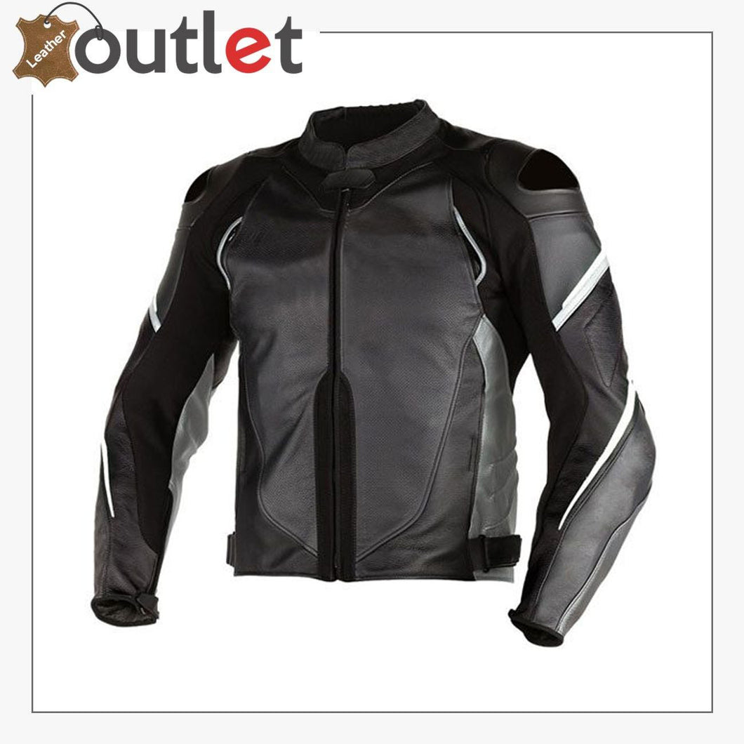 Black Super Speed D1 Perforated Motorcycle Leather Jacket