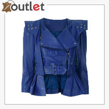 Load image into Gallery viewer, Blue Cropped Leather Peplum Biker Jacket