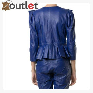 Blue Cropped Leather Peplum Biker Jacket