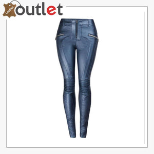 Blue Womens Real Leather Jeans Motorcycle Biker Pants