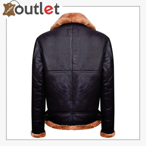 Brown B3 Real Shearling Sheepskin Leather Bomber Flying Jacket