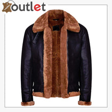 Load image into Gallery viewer, Brown B3 Real Shearling Sheepskin Leather Bomber Flying Jacket