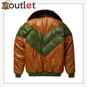 Brown-Green Leather Two Tone V Bomber Leather Jacket