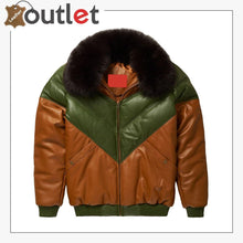 Load image into Gallery viewer, Brown-Green Leather Two Tone V Bomber Leather Jacket