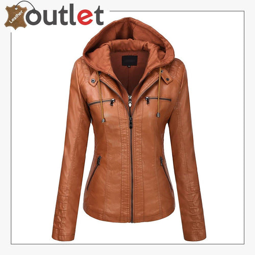 Brown Womens Hooded Faux Leather Fashion Jacket