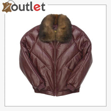 Load image into Gallery viewer, Burgundy Color Real Quality Fur V Bomber Leather Jacket - Leather Outlet