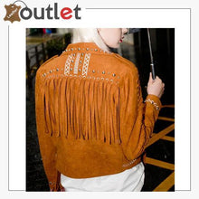 Load image into Gallery viewer, Camel Brown Fringed Leather Studded Biker Jacket