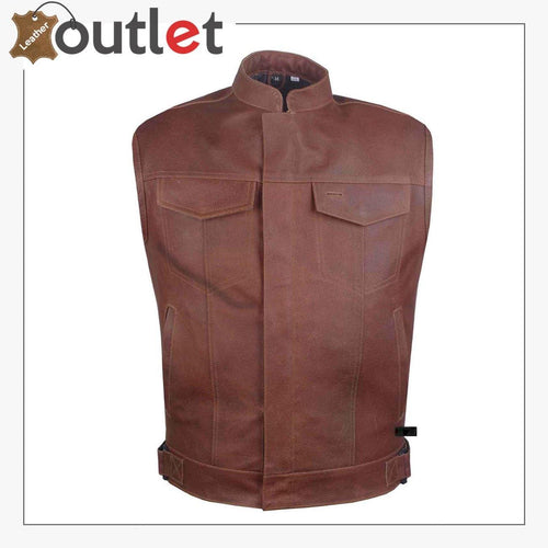 Classic Brown Leather Vest For Men