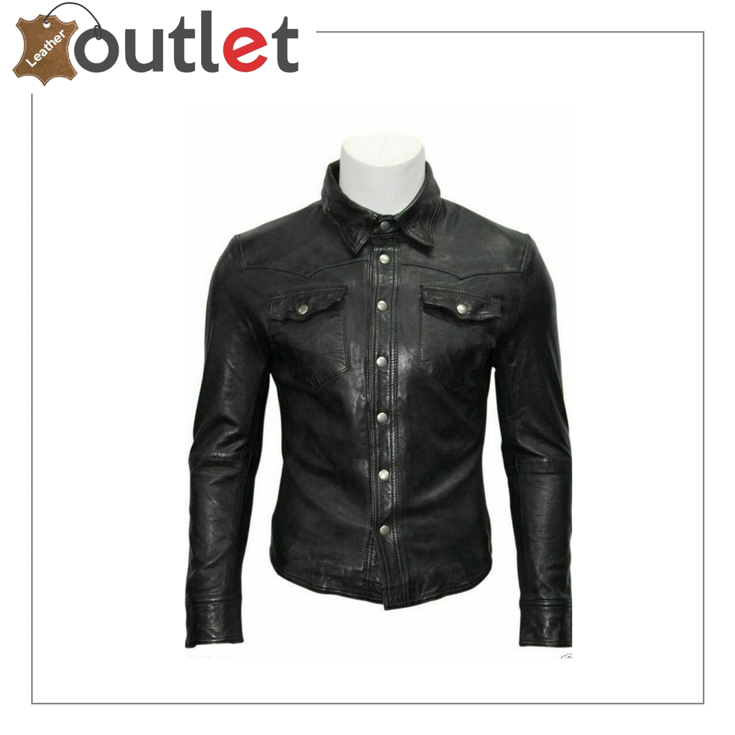 Men's Genuine Lambskin Leather Shirt, Unisex Shirt, Leather