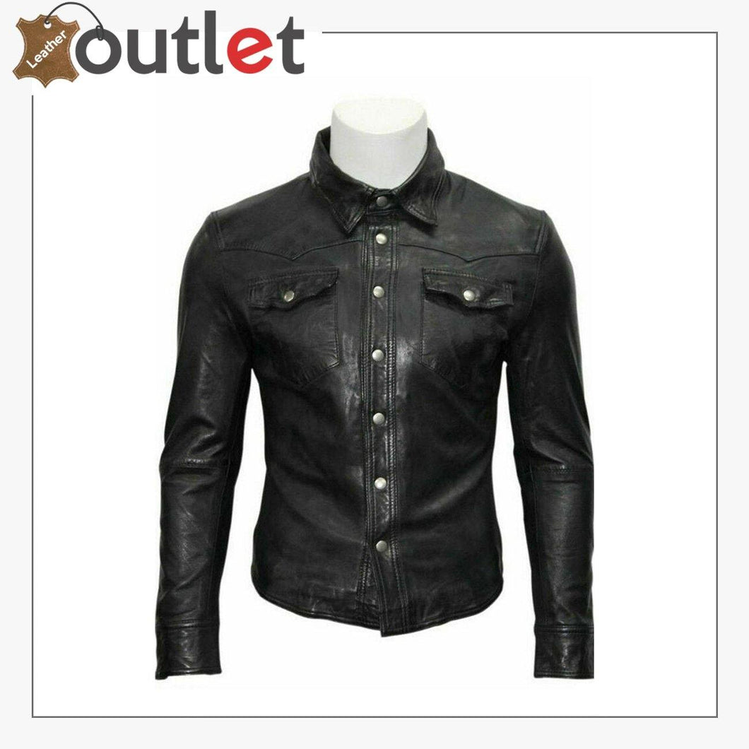 Custom Made Casual Gents Black Adjustable Collar Casual Shirt