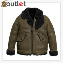 Load image into Gallery viewer, Shearling Sheepskin Leather Bomber Jacket