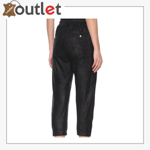 Cropped Womens Leather Trackpants Trouser