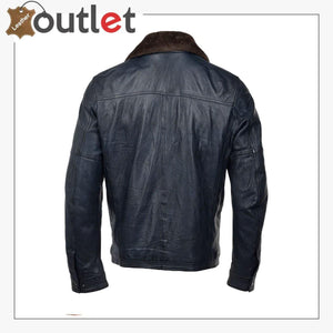 Detachable Collar Bomber Style Leather Jacket