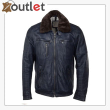 Load image into Gallery viewer, Detachable Collar Bomber Style Leather Jacket