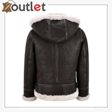 Load image into Gallery viewer, Detachable Hood Ladies B3 Bomber Classic WW2 Sheepskin Jacket