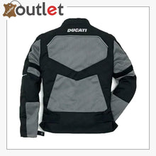 Load image into Gallery viewer, Ducati Black & Grey Motorcycle Leather Jacket - Leather Outlet