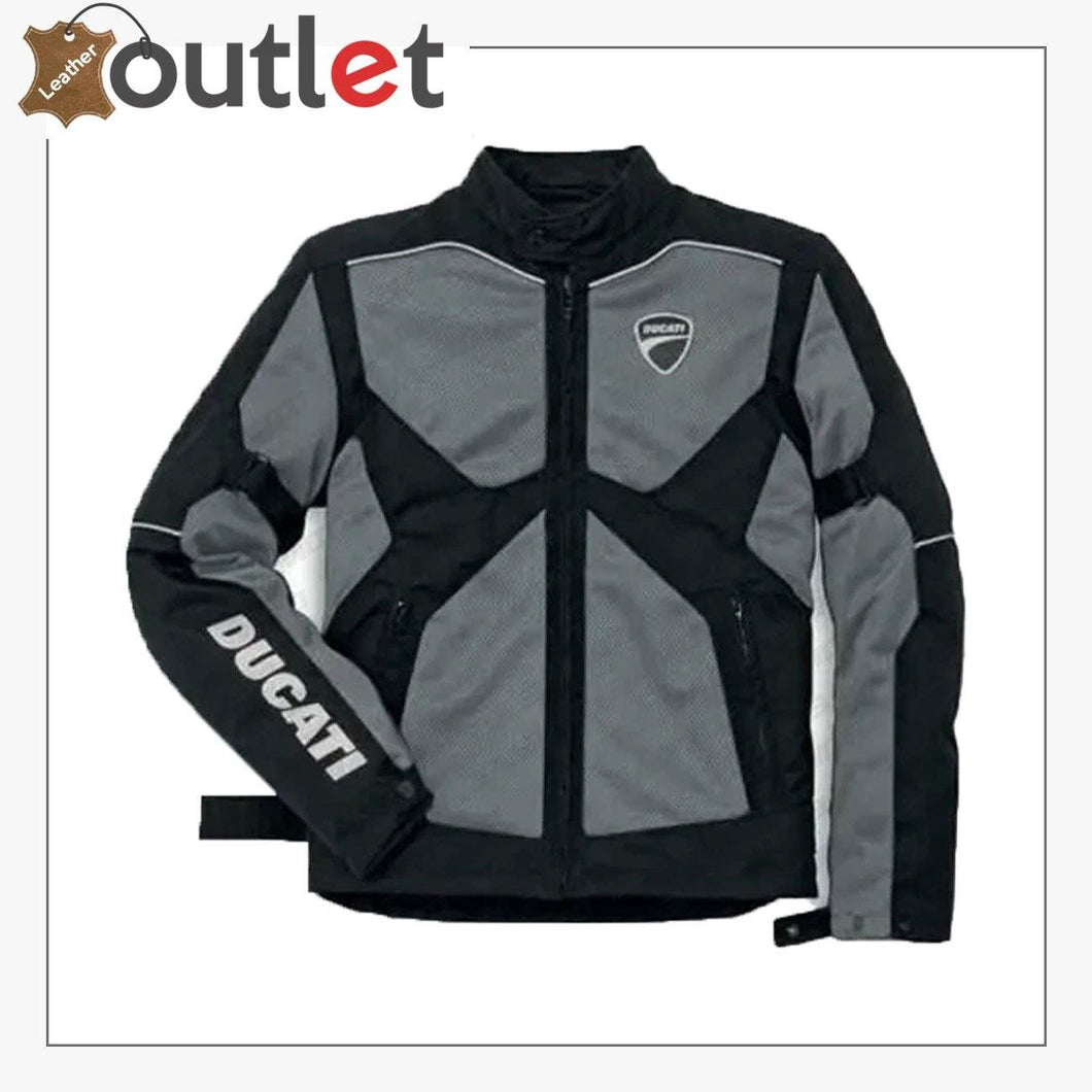 Ducati Black & Grey Motorcycle Leather Jacket - Leather Outlet