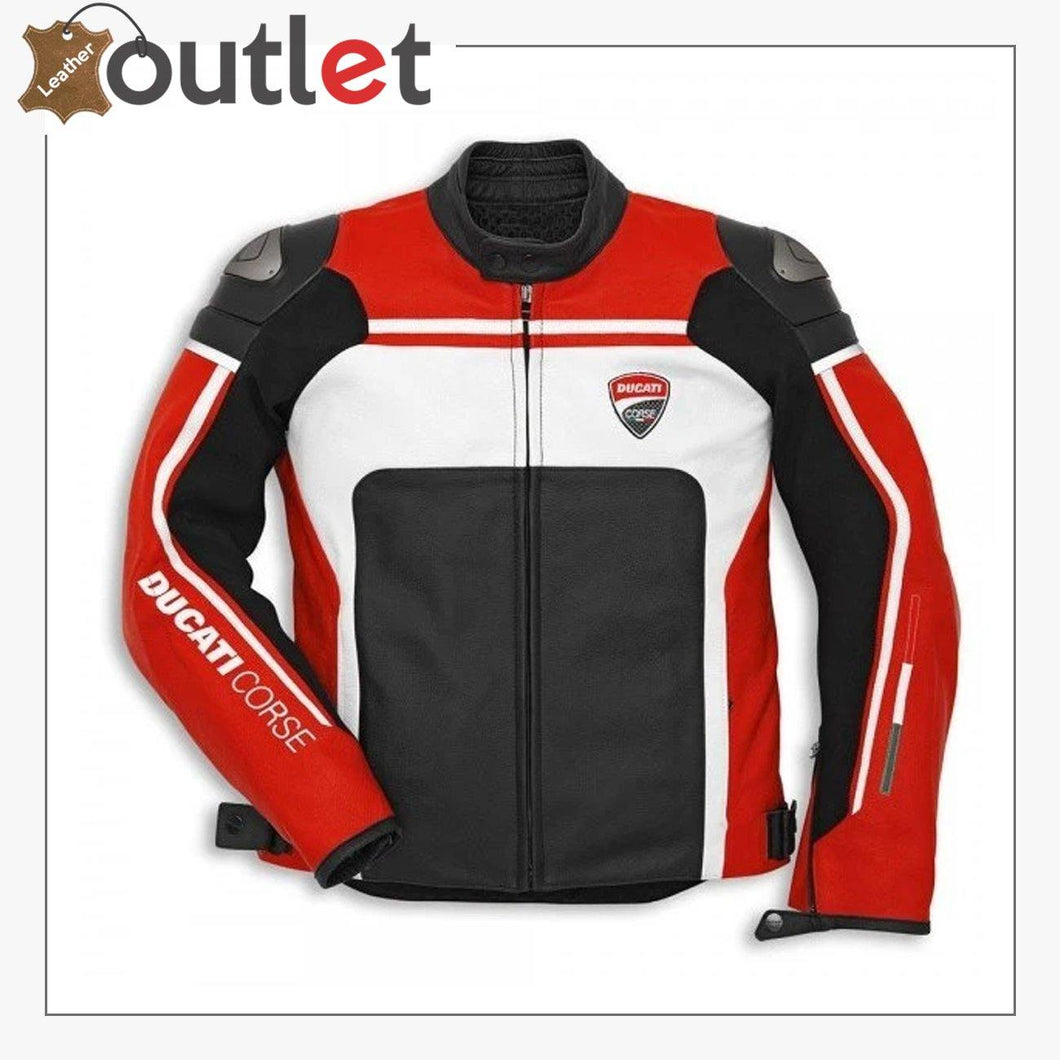 Ducati Corse Mens Style Leather Motorcycle Jacket
