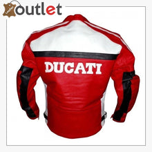 Load image into Gallery viewer, Ducati Red And White Biker Style Leather Jacket