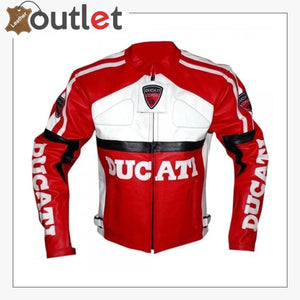 Ducati Red And White Biker Style Leather Jacket