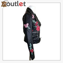 Load image into Gallery viewer, Embellished Silver Studded Embroidered Leather Jacket