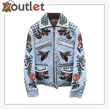 Load image into Gallery viewer, Embellished Studded Blue Padded Leather Jacket