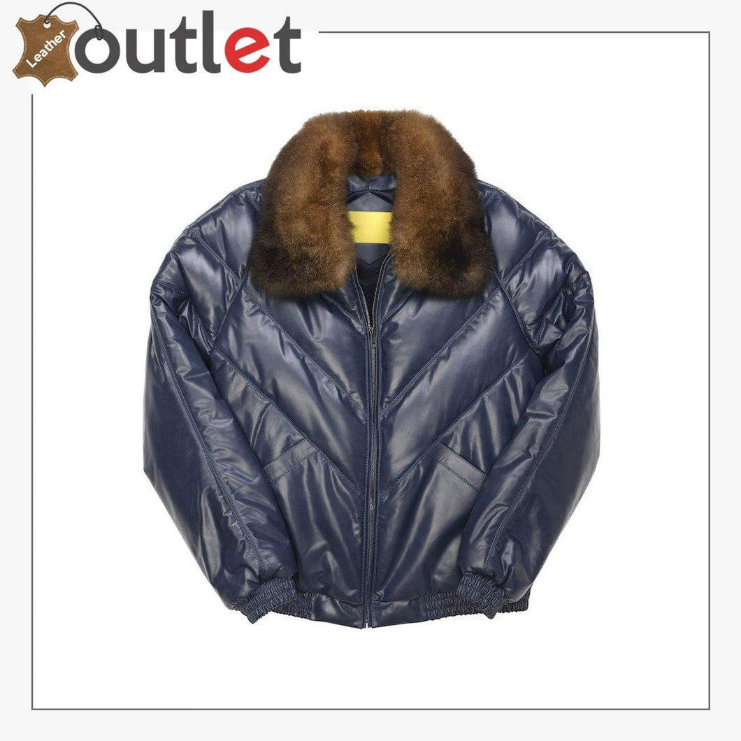 Fashion Quality Navy V Bomber Leather Jacket