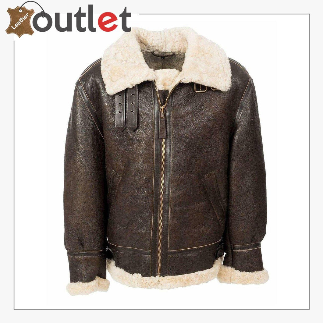 Flight B3 Aviator Bomber Leather Brown Jacket