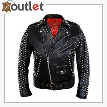 Load image into Gallery viewer, Full Silver Spiked Studded Brando Leather Jacket