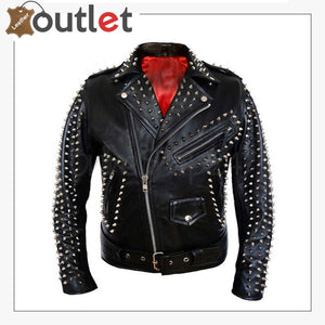 Full Silver Spiked Studded Brando Leather Jacket