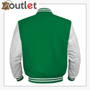 GREEN Wool & White Leather Varsity Jacket For Women