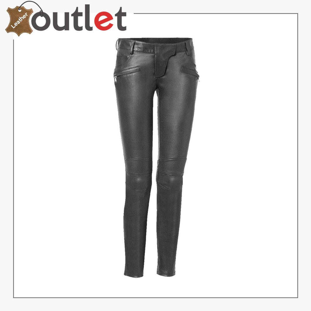 Genuine Lambskin Leather Skinny Womens Leather Pants