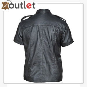 Genuine Leather Sheep Leather Men Gay Police Bluf Shirt