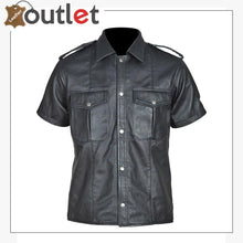 Load image into Gallery viewer, Genuine Leather Sheep Leather Men Gay Police Bluf Shirt