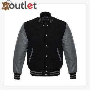 Genuine Leather Varsity Jacket For Men