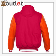 Load image into Gallery viewer, Genuine Orange Leather Varsity Jacket For Women