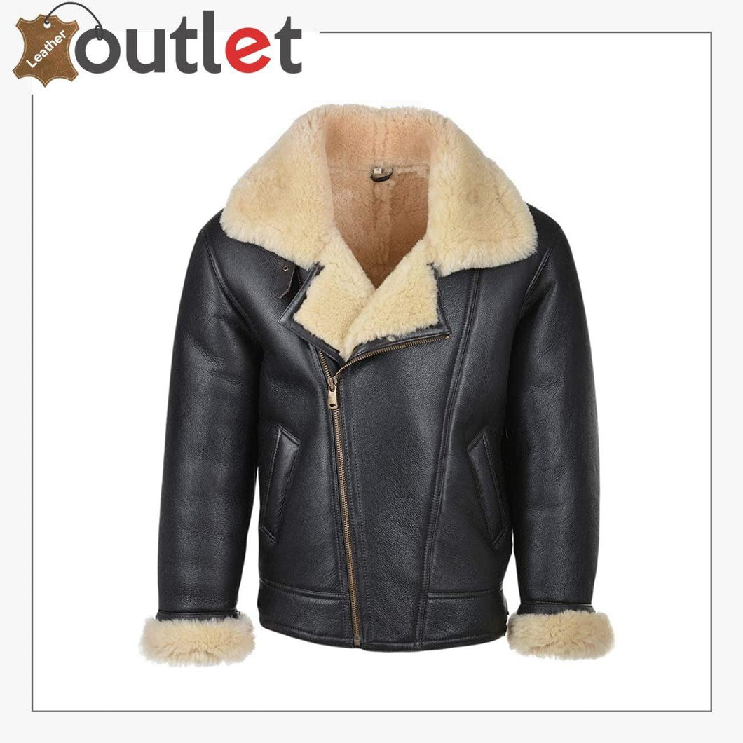 Genuine Sheepskin B3 Leather Bomber Jacket for Men