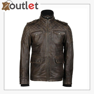 Classic Style Genuine Mens Motorcycle Leather Ridding Jacket - Leather Outlet