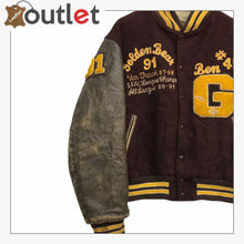 Load image into Gallery viewer, Golden Bear varsity wool mix sleeve leather stadium letterman jacket