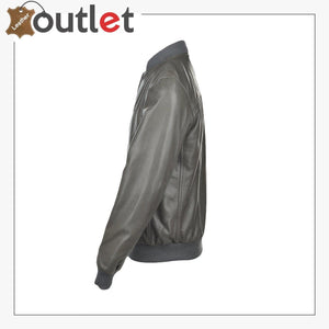 Grey Leather Bomber Jacket - Leather Outlet