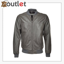 Load image into Gallery viewer, Grey Leather Bomber Jacket - Leather Outlet