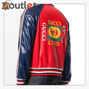 Womens Leather Bomber Jacket with Gucci Logo - Leather Outlet