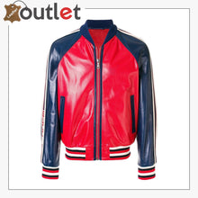 Load image into Gallery viewer, Womens Leather Bomber Jacket with Gucci Logo - Leather Outlet