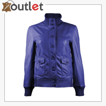 Load image into Gallery viewer, Gusty Dark Blue Bomber Womens Leather Jacket