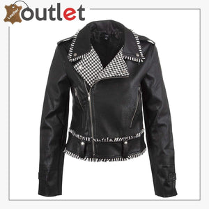 Handcrafted Studded Leather Jacket For Women