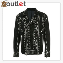 Load image into Gallery viewer, Handmade Men Black Punk Rock Studded Jacket